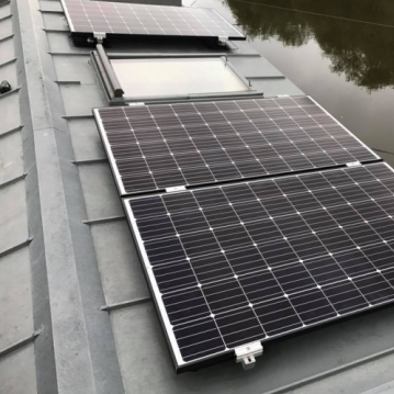 Solar panels on houseboat