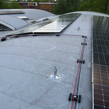 Solar panels on an arc roof with PVC